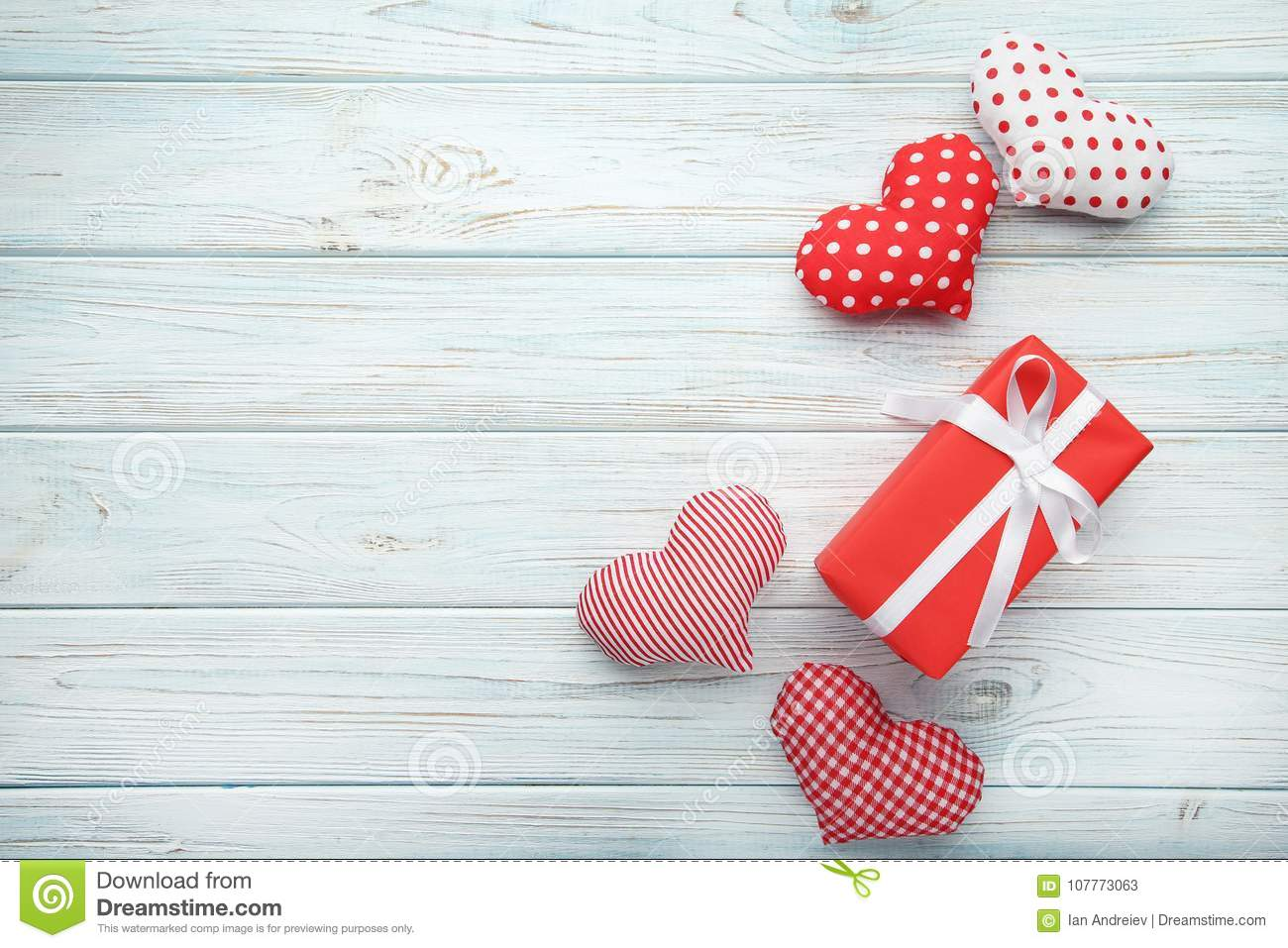Gift Box With Fabric Hearts Stock Image Image Of Decoration