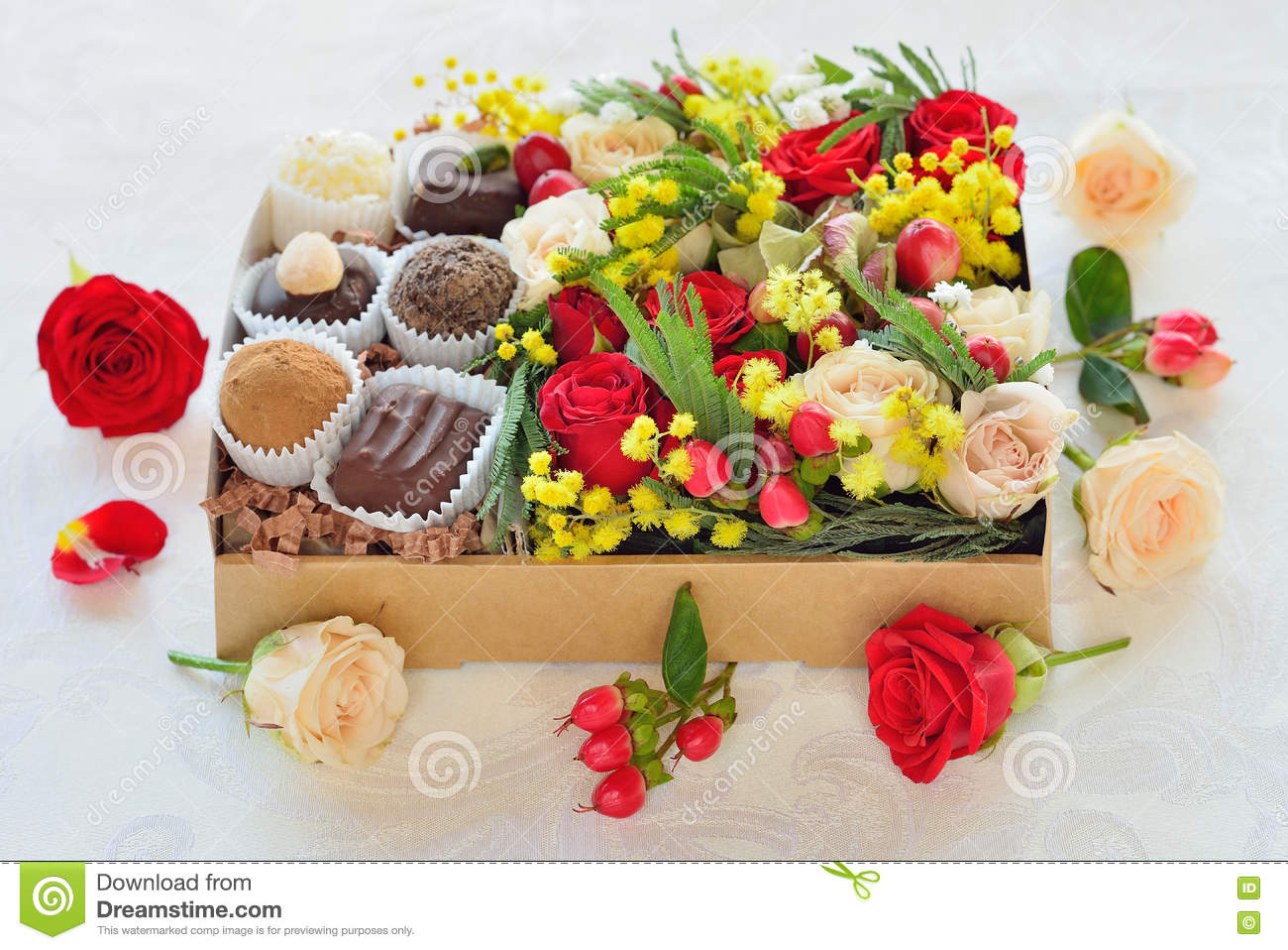 Box With Flowers And Candies Made Of Chocolate
