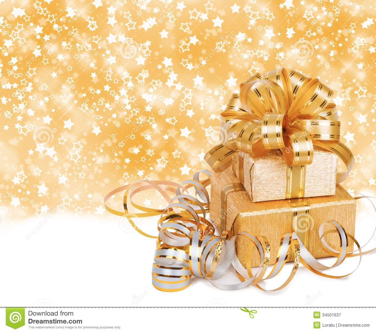 Gift Box In Gold Wrapping Paper Royalty Free Stock