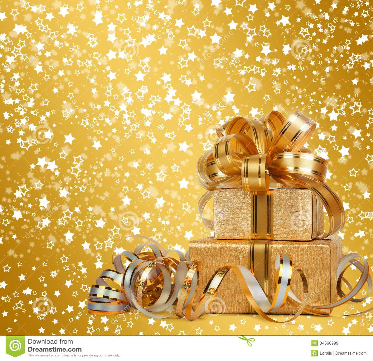 Gift Box In Gold Wrapping Paper Royalty Free Stock Images - Image ...