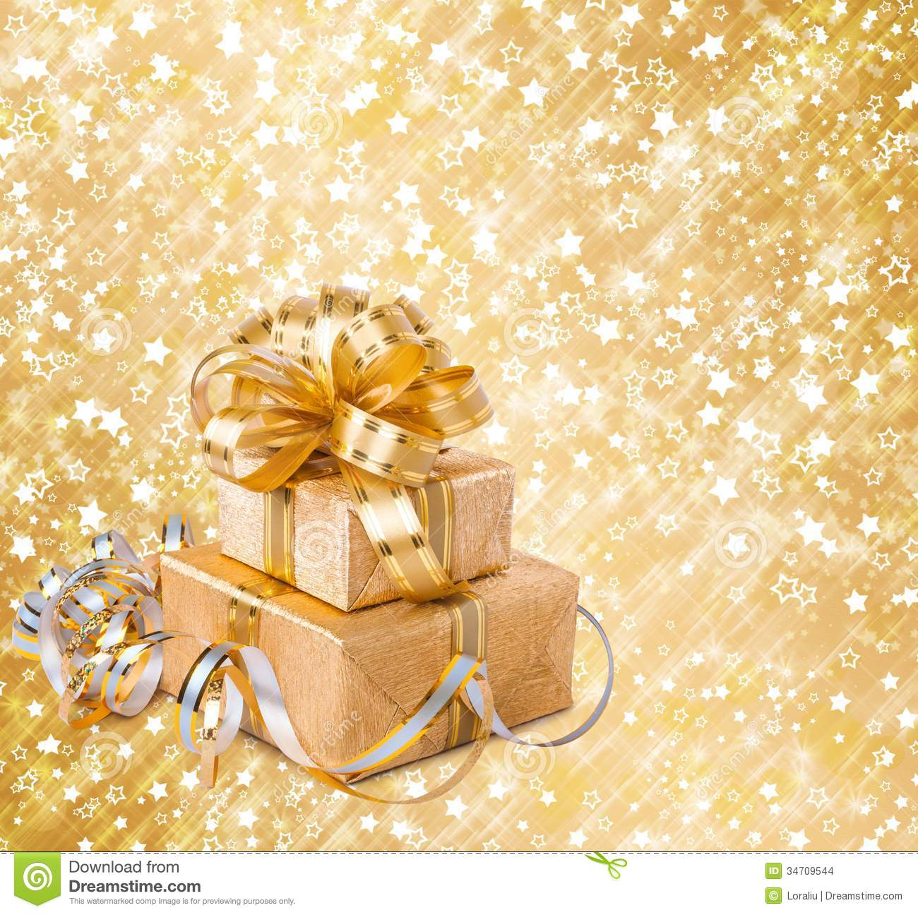 Gift Box In Gold Wrapping Paper Stock Images - Image: 34709544