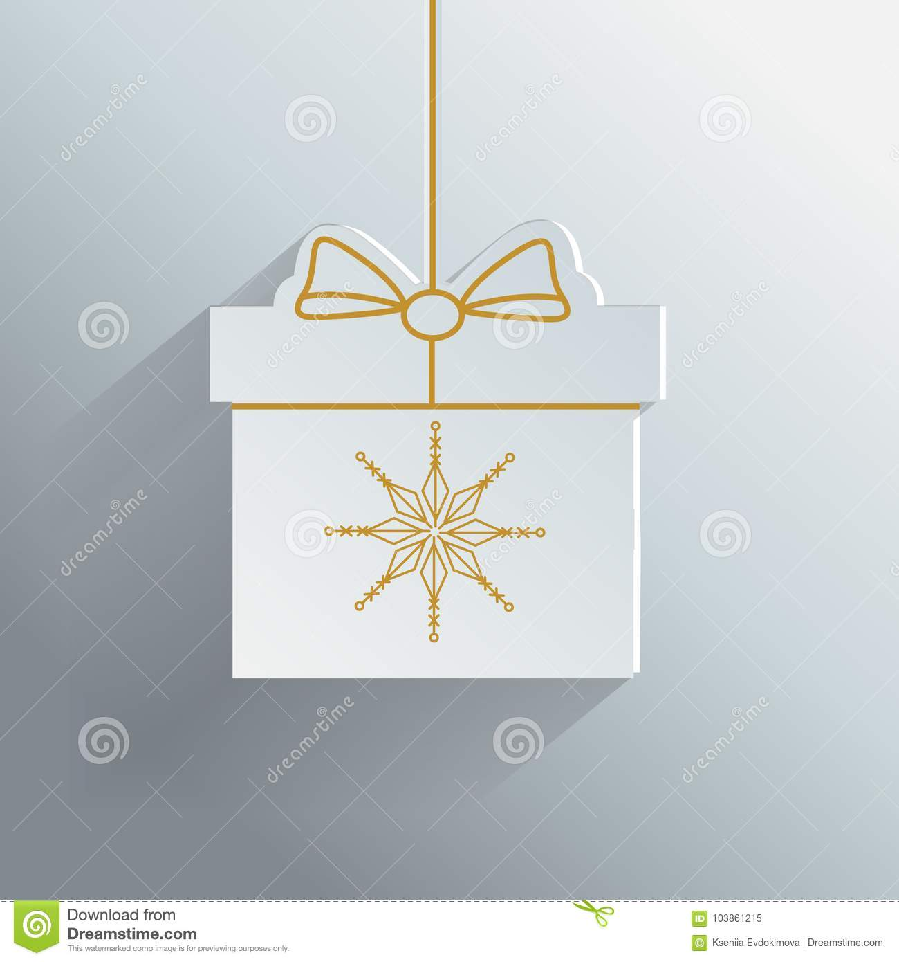 gift box with golden snowflake new year christmas present paper
