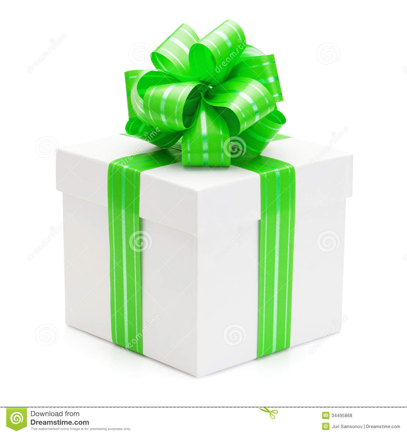 Gift box with green ribbon and bow stock photo image of package gift box with green ribbon and bow negle Choice Image
