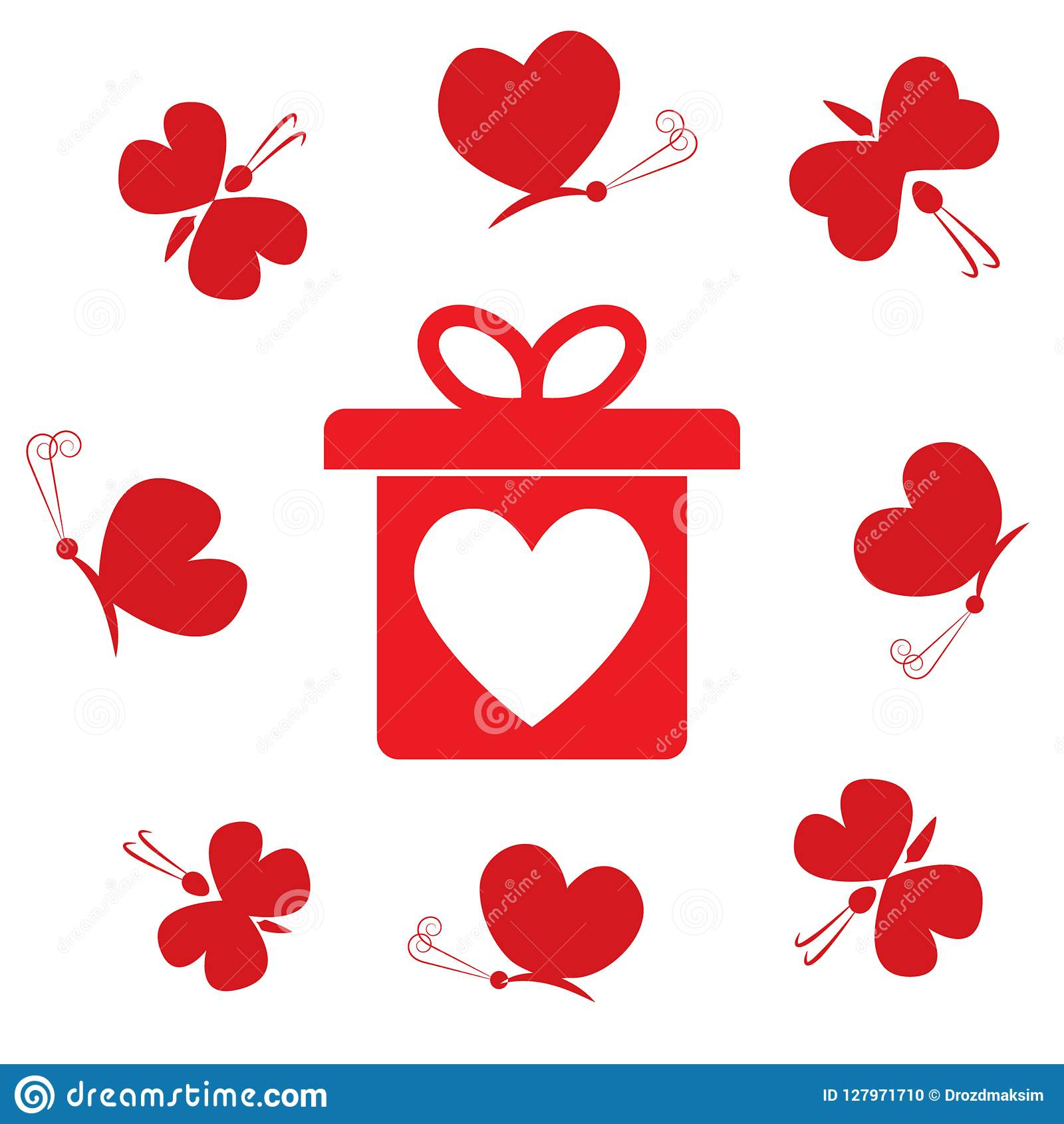 Gift Box With Heart And Flying Butterflies Flat Design Valentine S