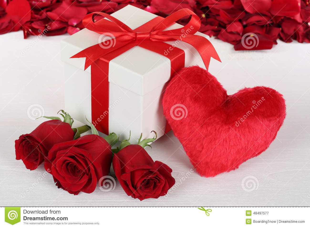 Gift Box With Heart And Roses For Birthday Valentine S Or Mothe