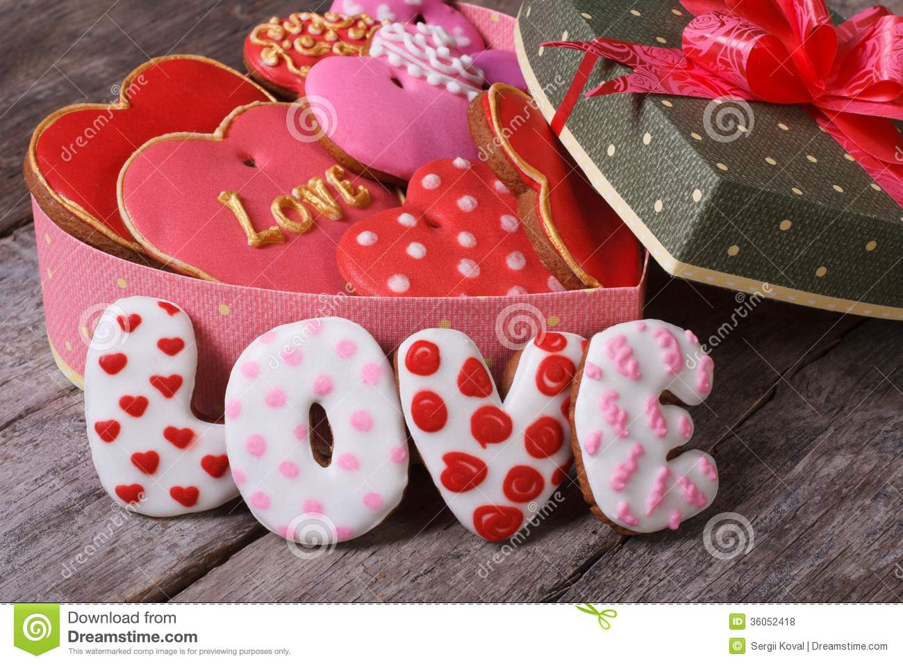Gift box with hearts ginger cookies love stock photo image of gift box with hearts ginger cookies love negle Image collections