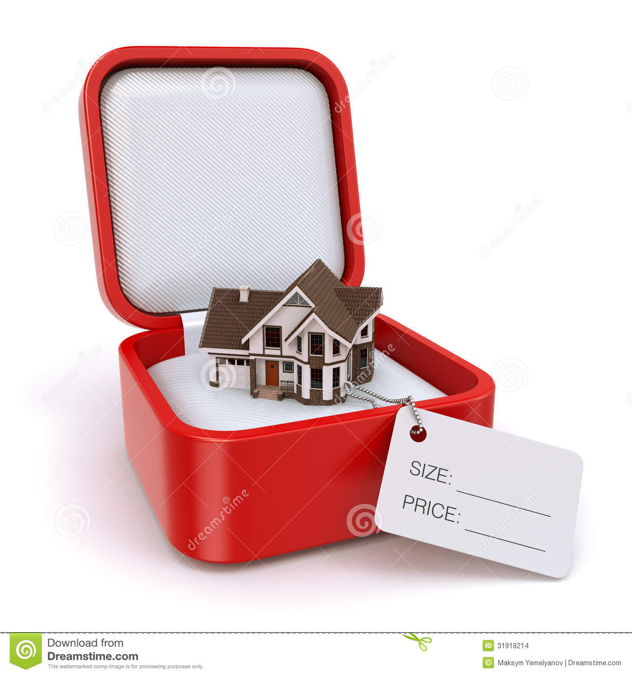 Gift Box With House Real Estate Concept Stock Images