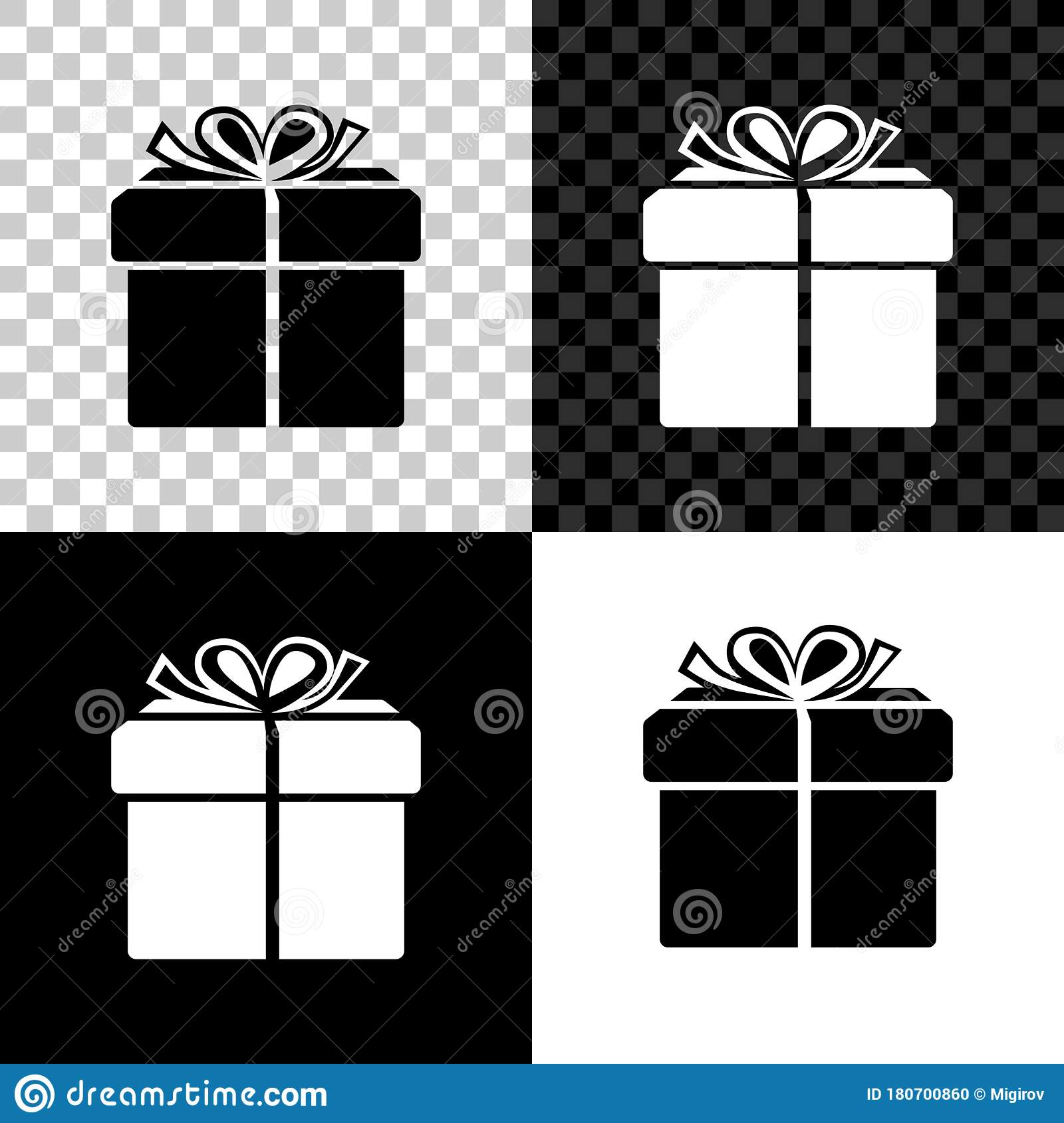 Gift Box Icon Isolated On Black White And Transparent Background Vector Stock Vector Illustration Of Christmas Collection 180700860
