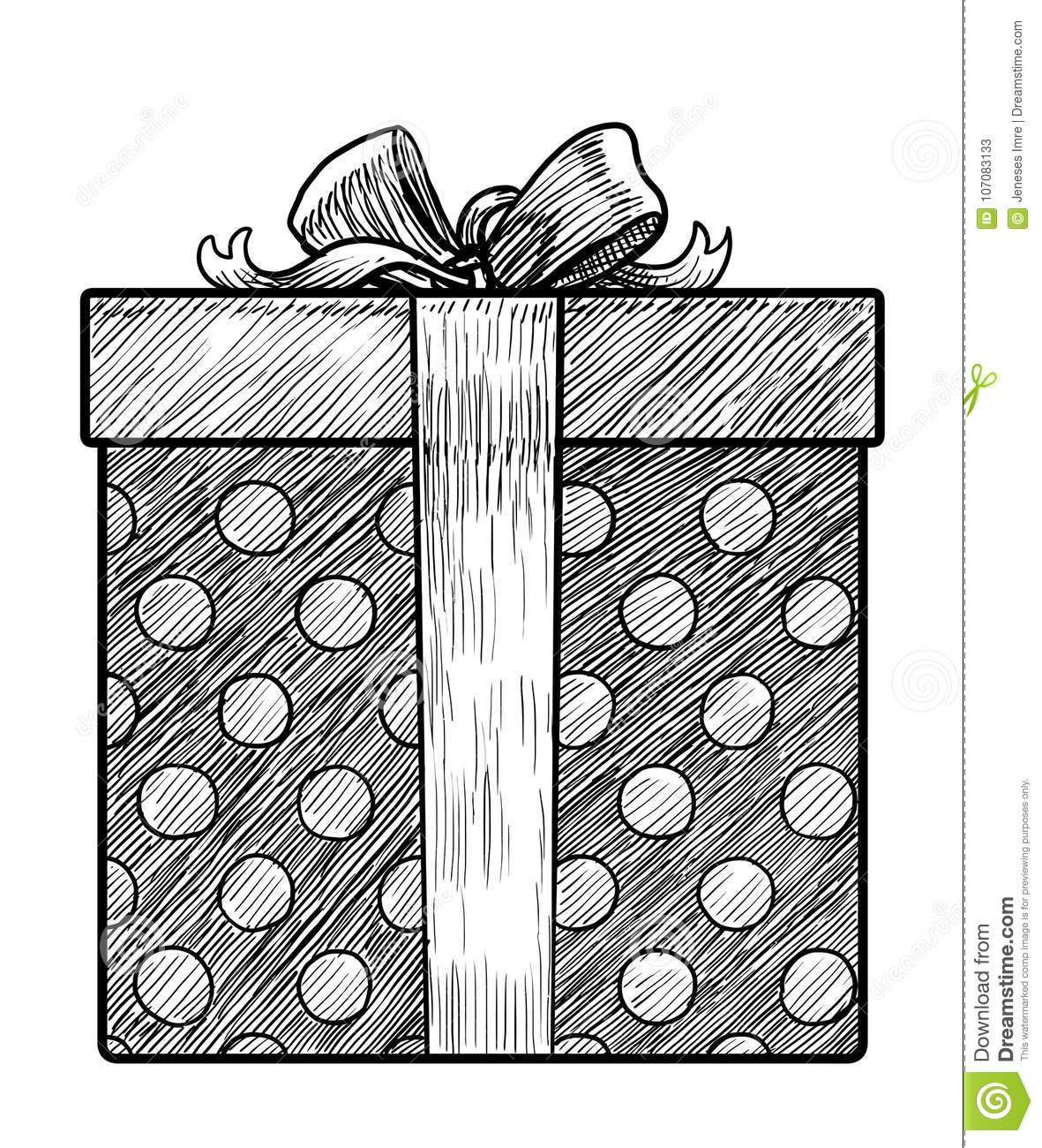 Gift Box Illustration Drawing Engraving Ink Line Art Vector