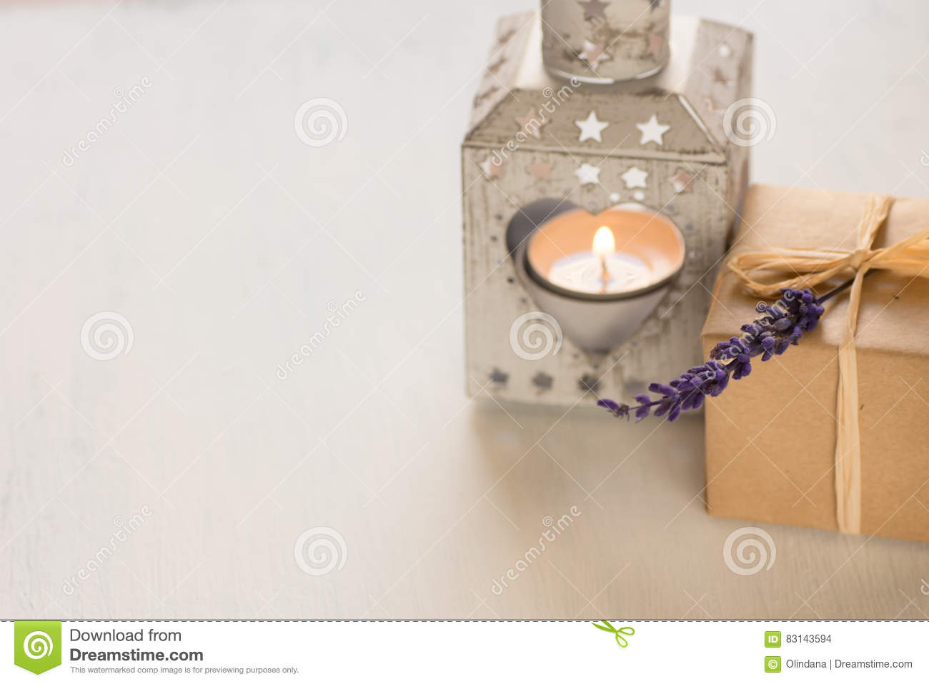 Gift Box With A Lavender Twig, Heart Shaped Candle Holder