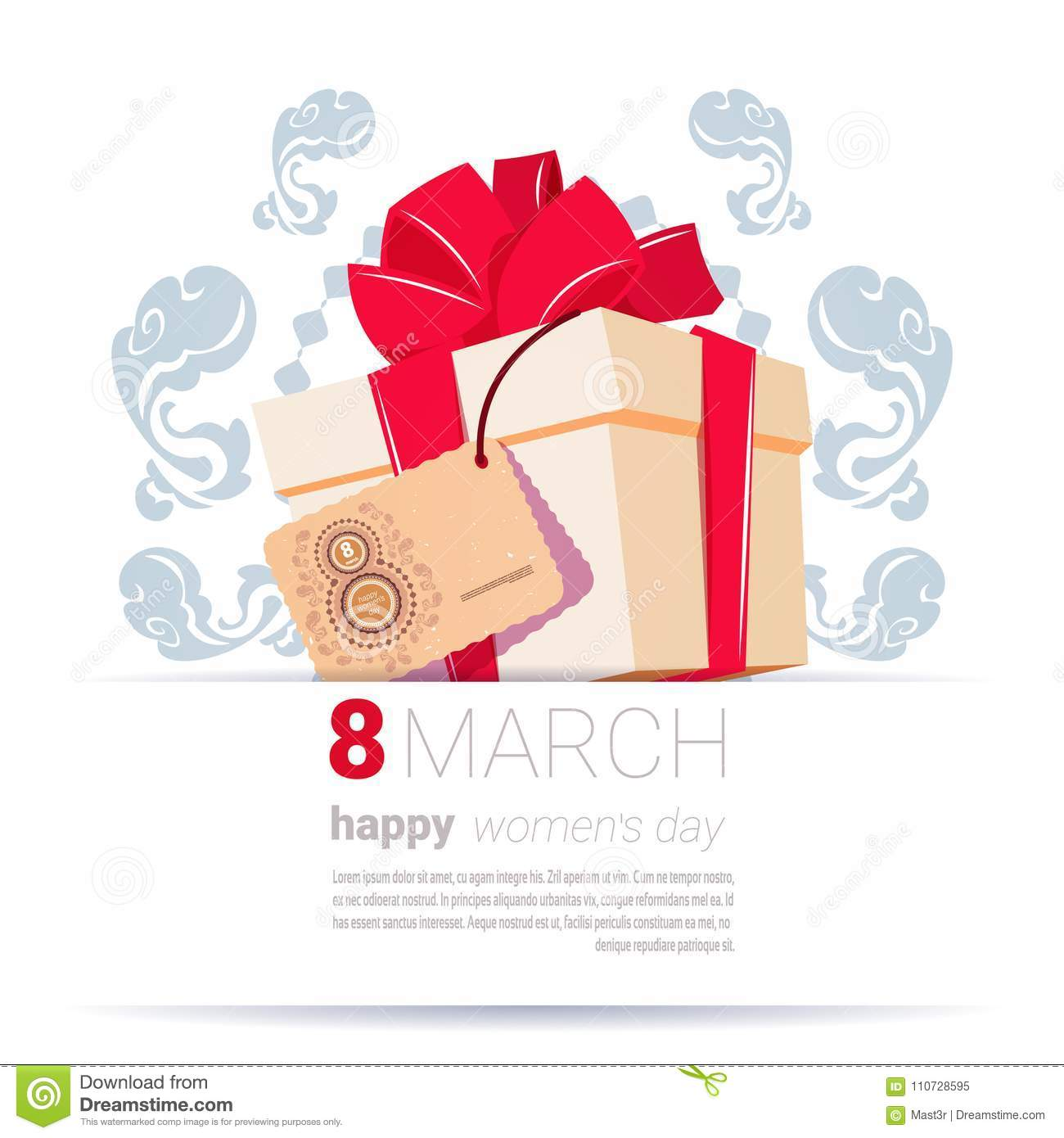 Gift Box With 8 March Tag Happy Women Day Creative Greeting Card
