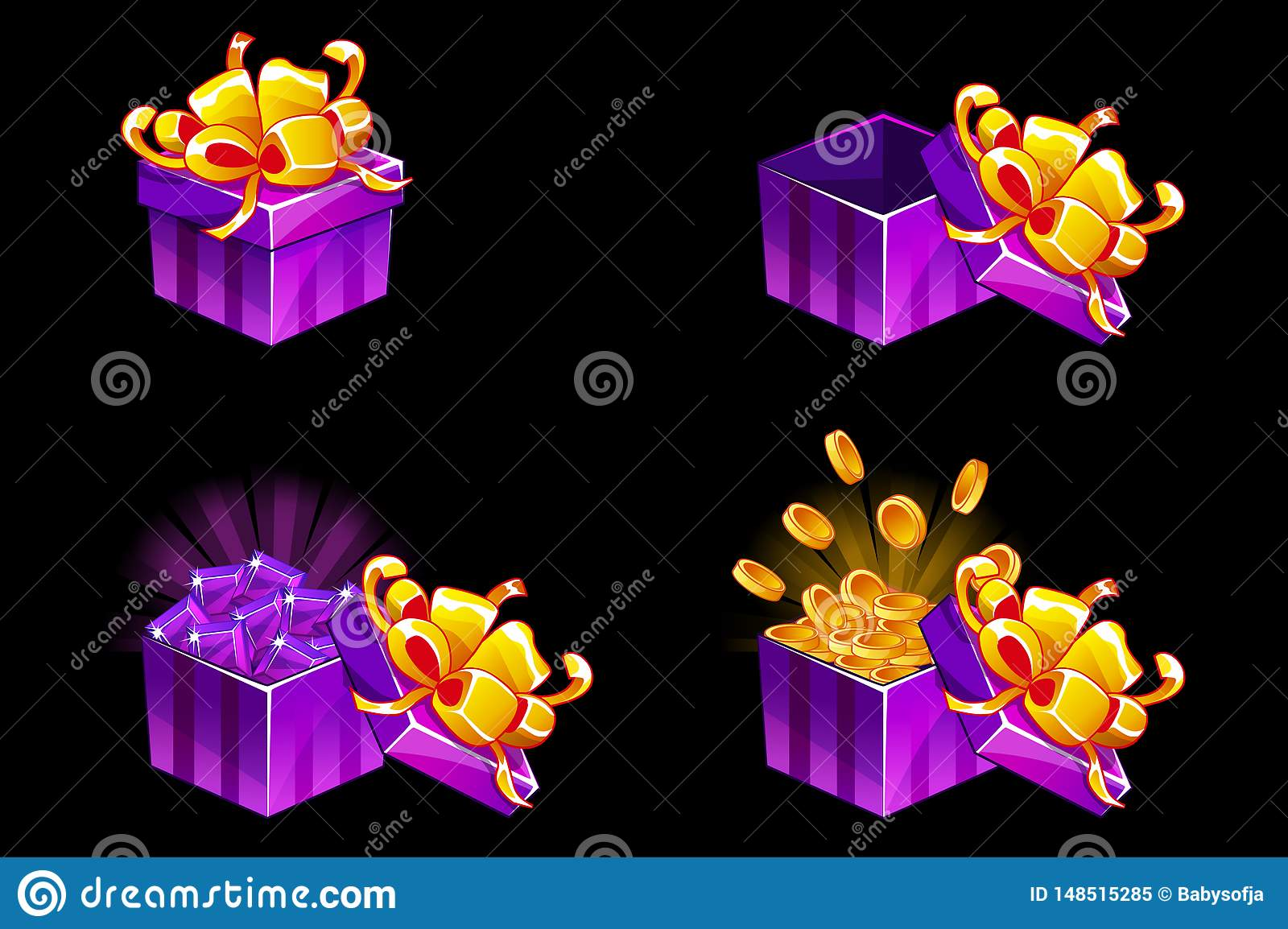 Gift box open and closed. Cartoon isometric Gift with coins and gems, vector bonus icons for UI game resources.