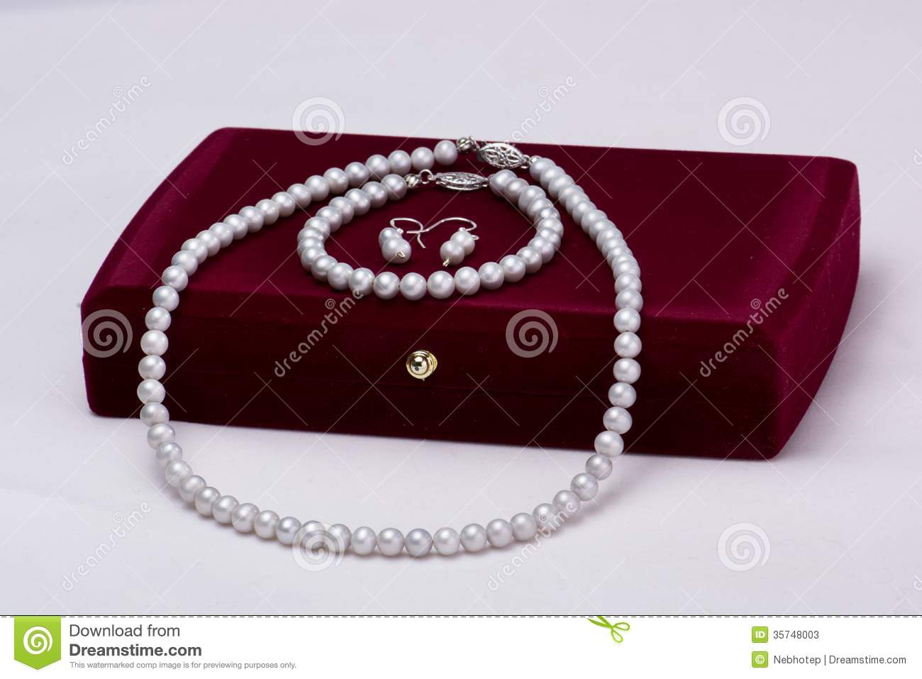 Gift box and pearls set stock image. Image of jewelry ...