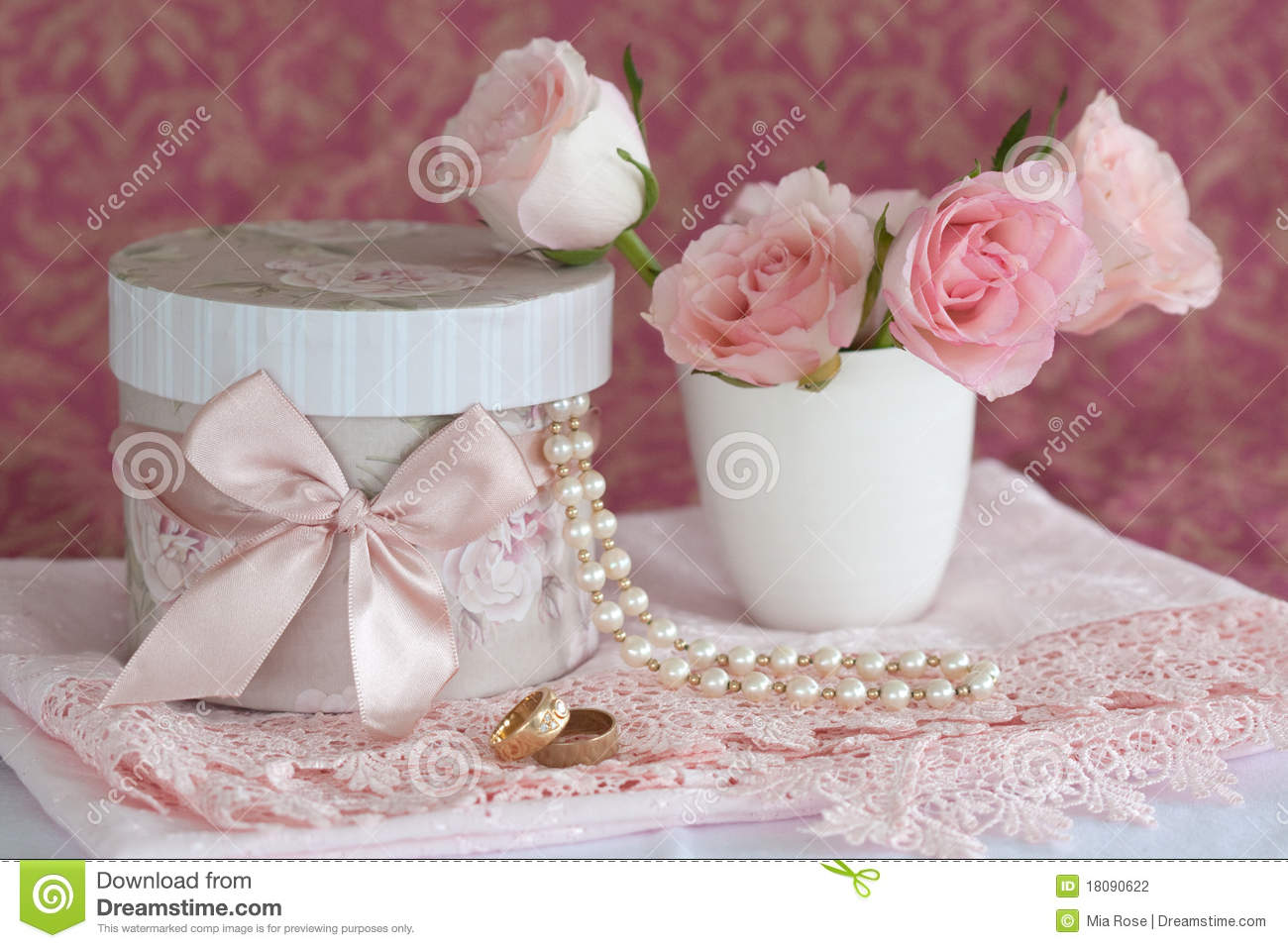 Gift Box, Pearls, Wedding Rings And Roses Stock Photography - Image ...