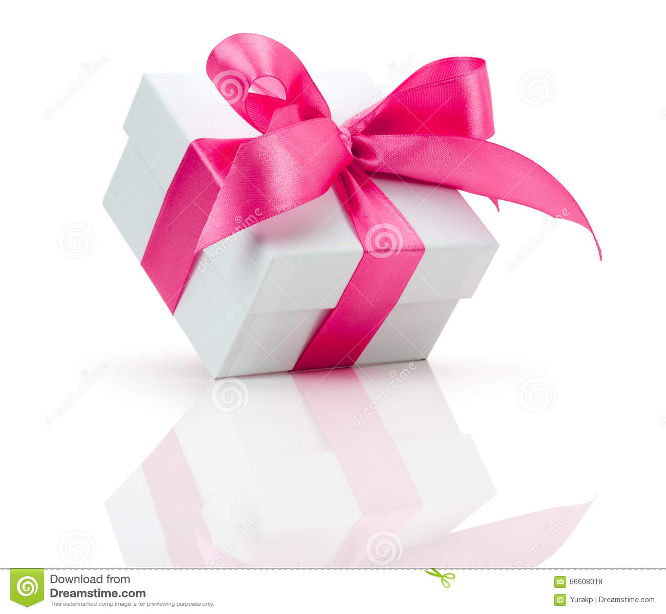 Gift box with pink bow isolated on the white background