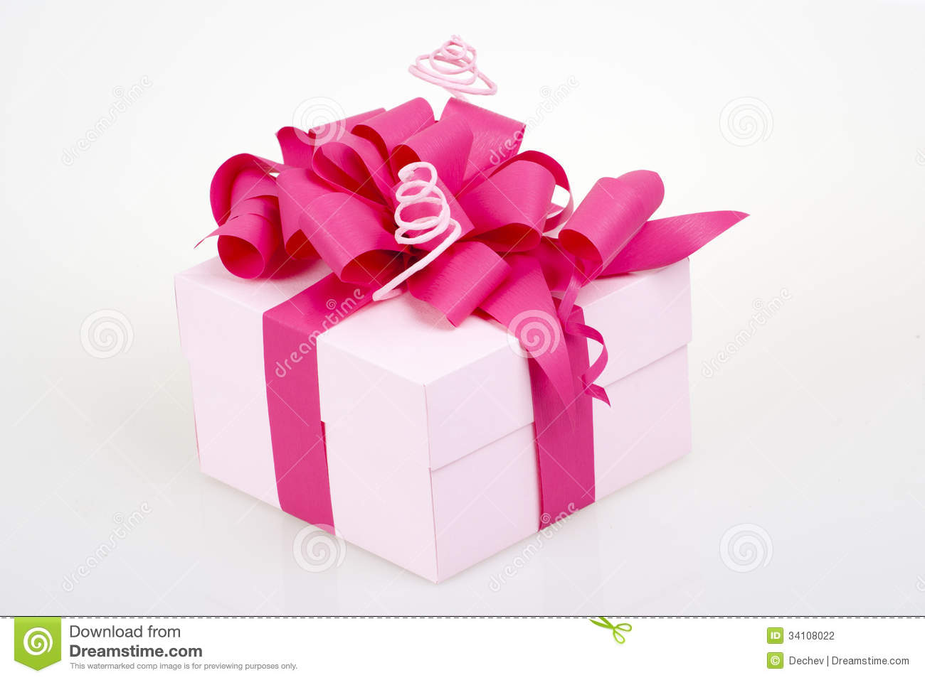 Gift Box With Pink Ribbon Stock Photography - Image: 34108022