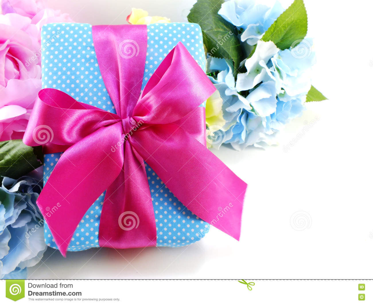 Gift Box With Pink Ribbon Bow And Beautiful Colorful Flowers