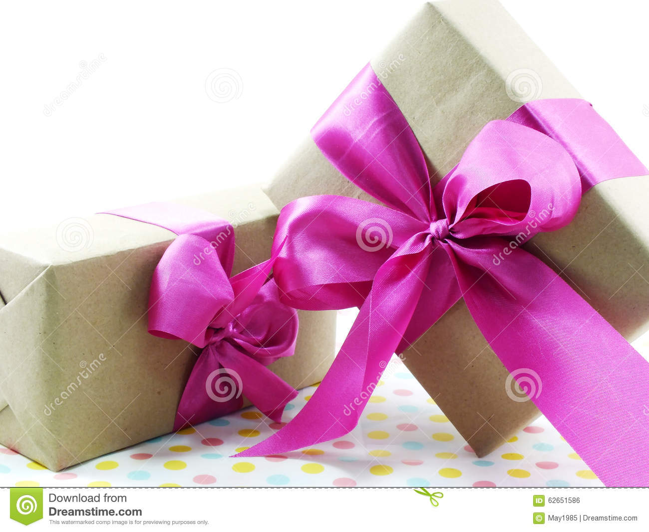 Gift box with a pink bow vector illustration