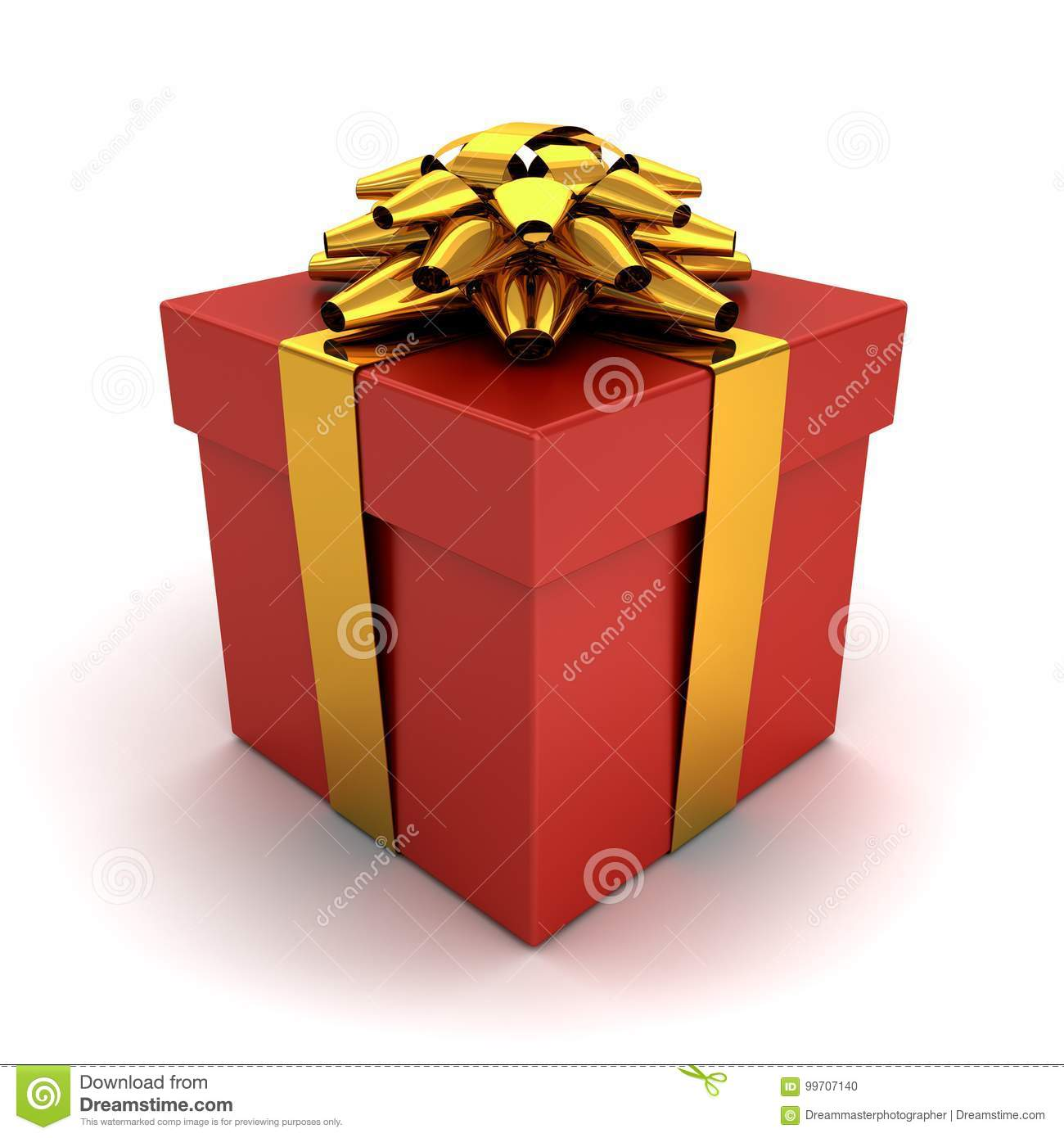 Gift box , Present box with gold ribbon bow isolated on white background with shadow