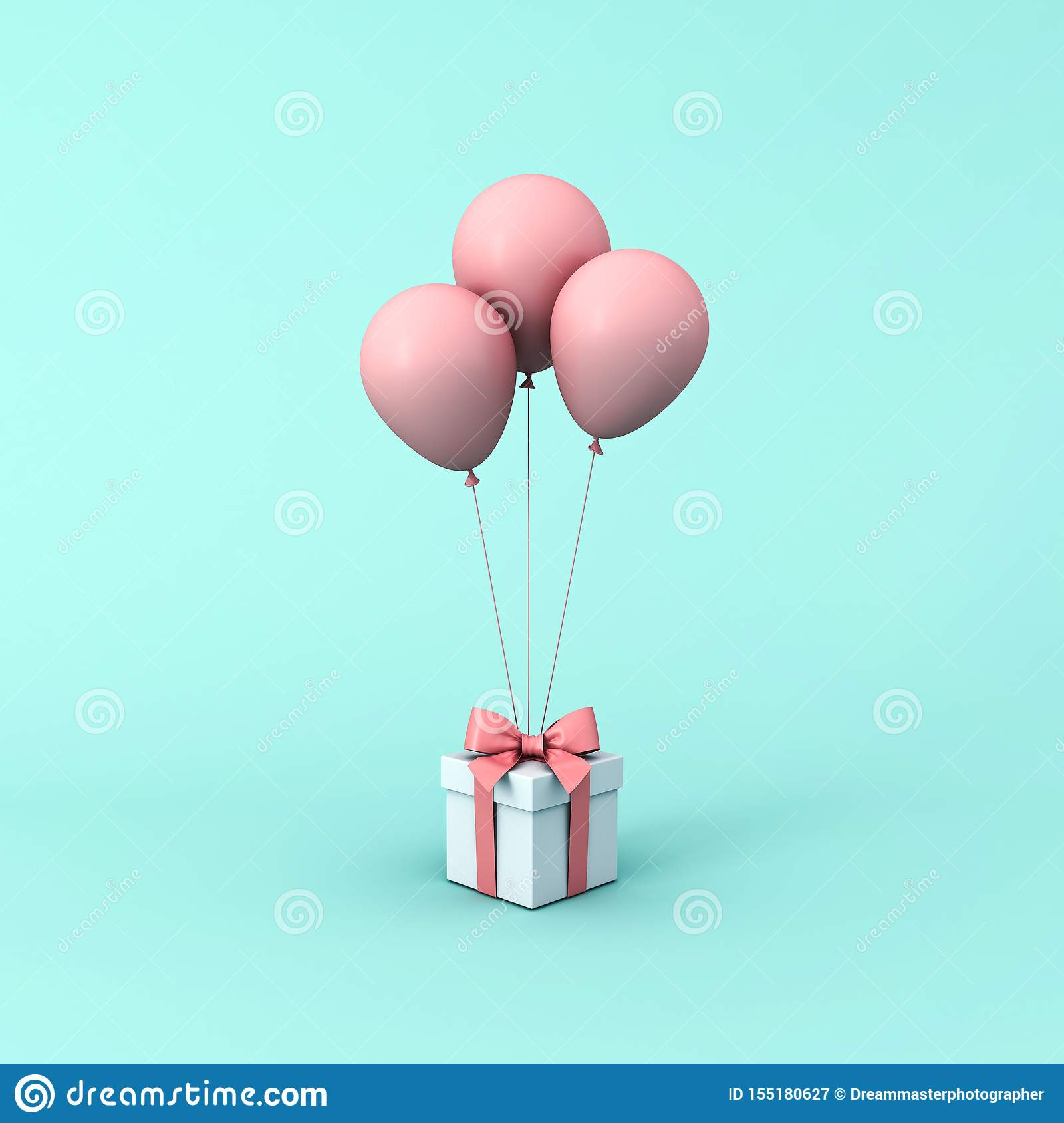 Gift box or present box with pink pastel color balloons isolated on light green blue pastel color background