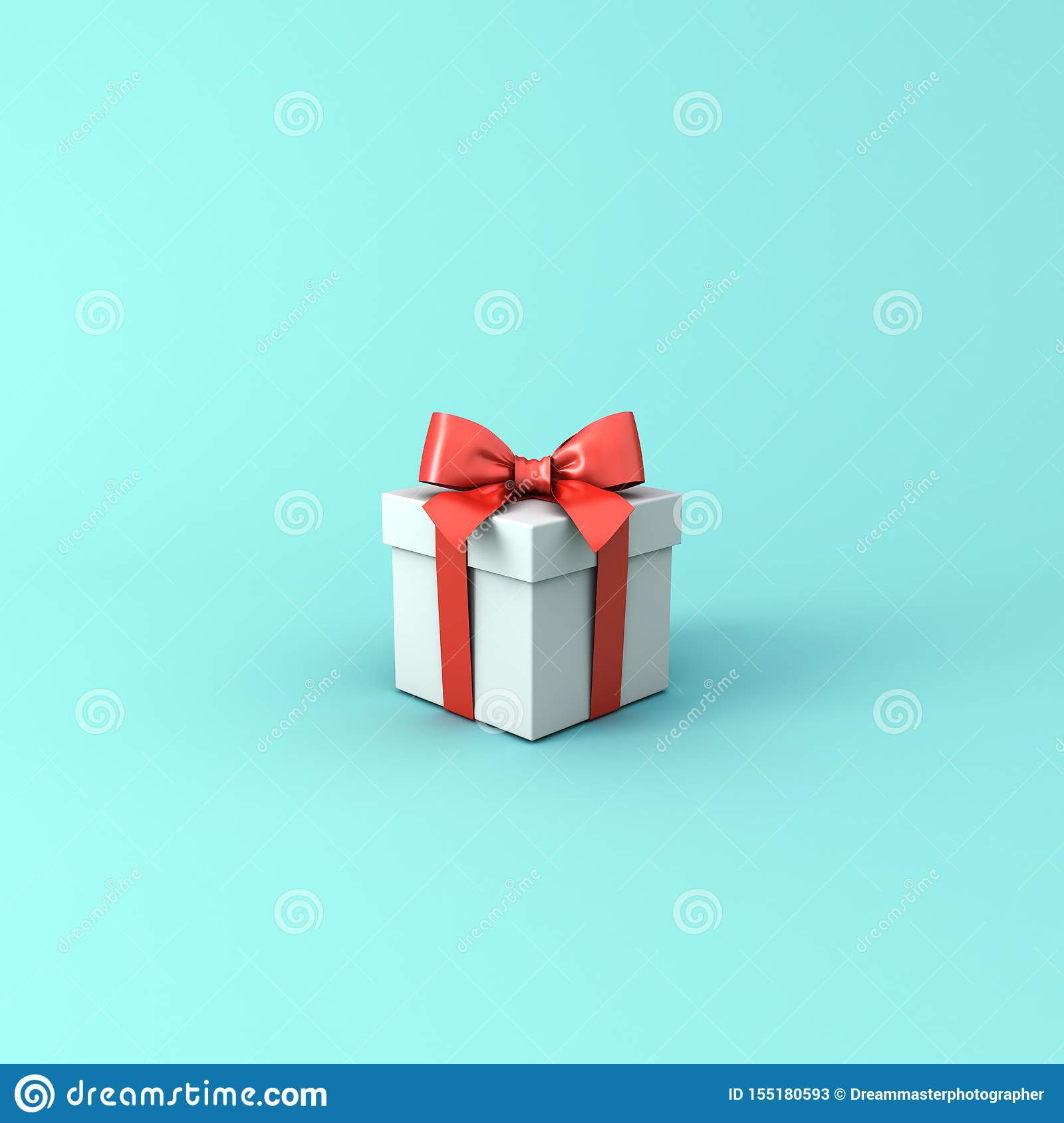 Gift box or Present box with red ribbon and bow isolated on light blue green pastel color background