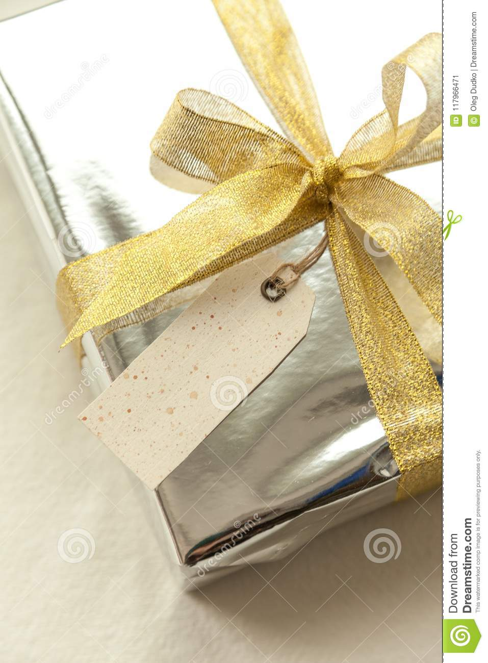 Gift Box Present Wishes Tag Gold Birthday