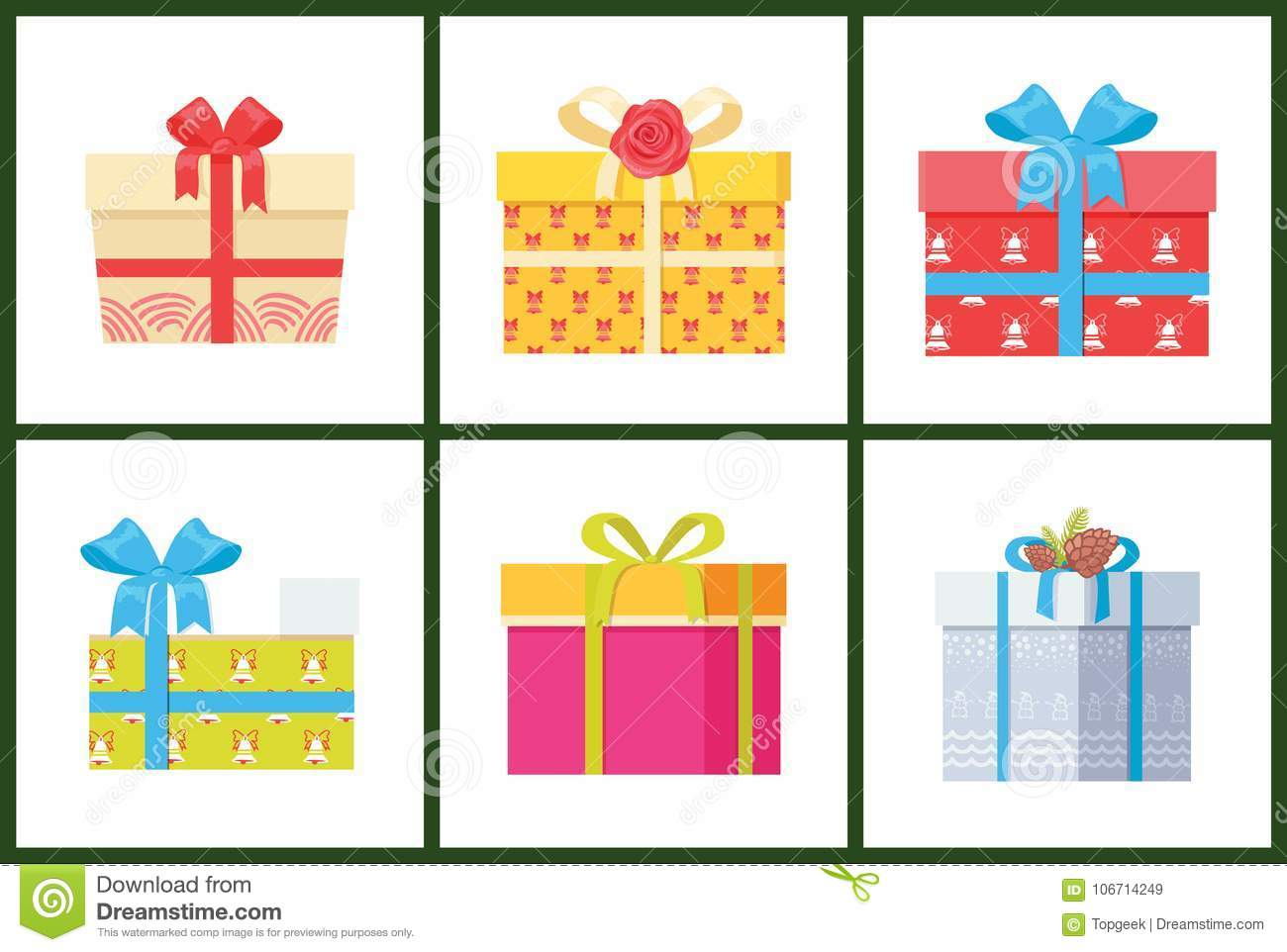 Gift Box Present Wrapped Package Icon Vector Set Stock Vector Illustration Of Packaging Decor 106714249