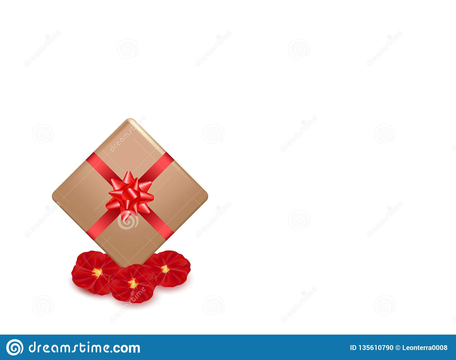 Gift box and red calligraphy stripe. Rose petals flowers. Valentines day greeting card design, 3d style on white background.