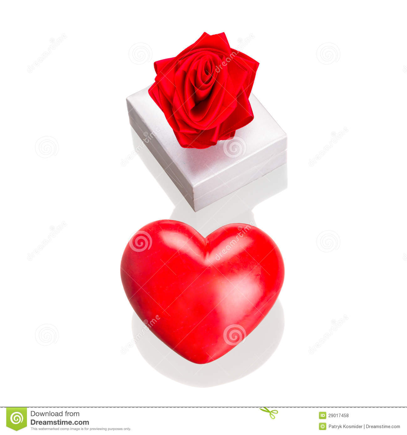 Gift Box With Red Heart As Love Symbol Isolated Stock Photo Image
