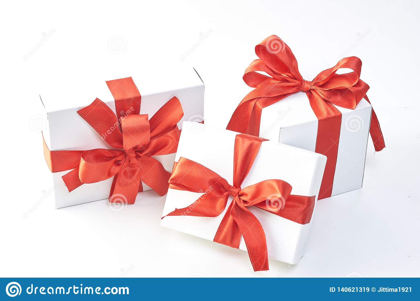 Gift Box With Red Ribbon Stock Image Image Of Card 140621319