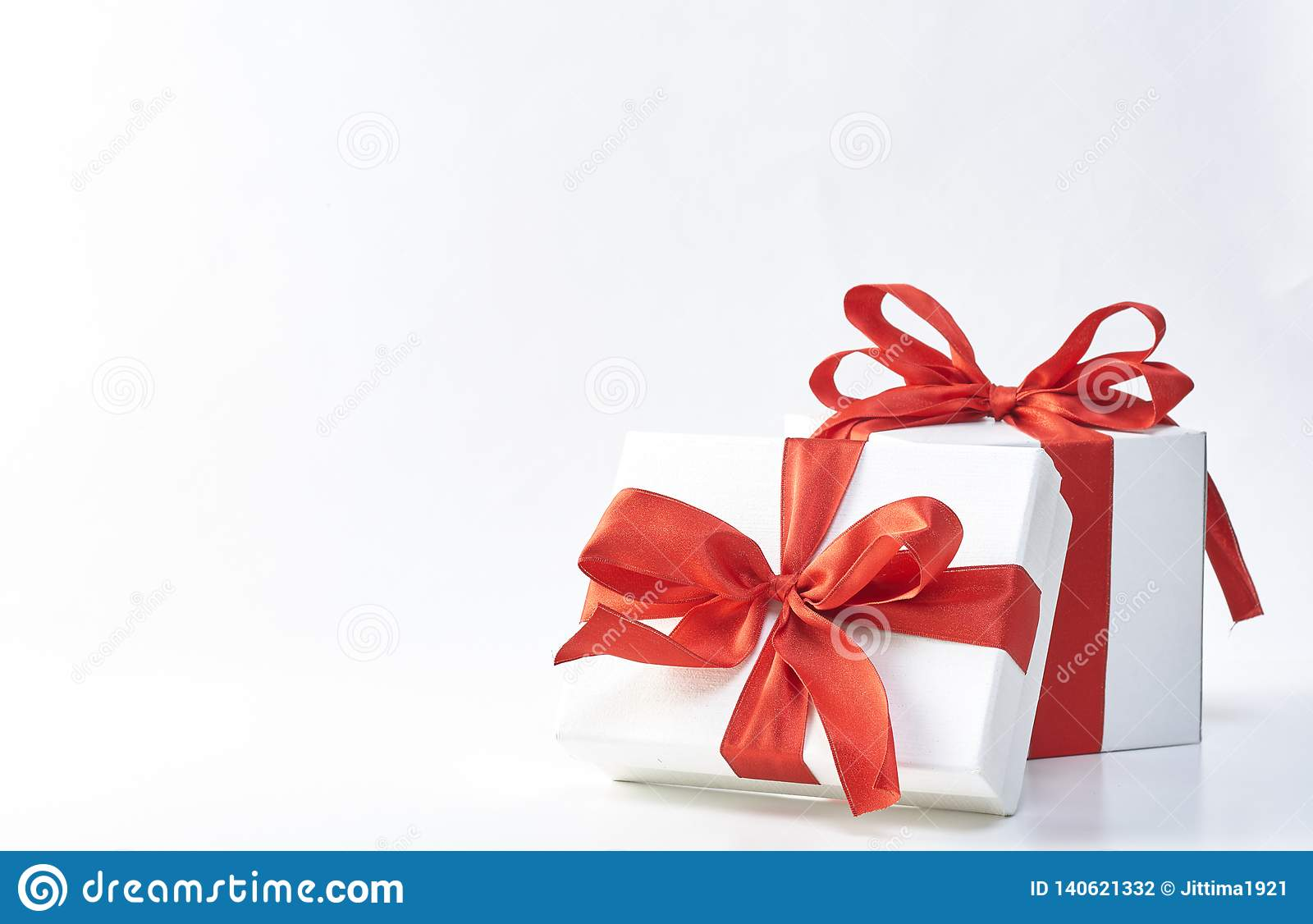 Gift Box With Red Ribbon Stock Photo Image Of Space 140621332