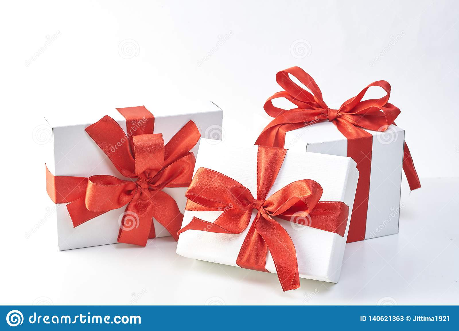 Gift Box With Red Ribbon Stock Image Image Of Holiday 140621363