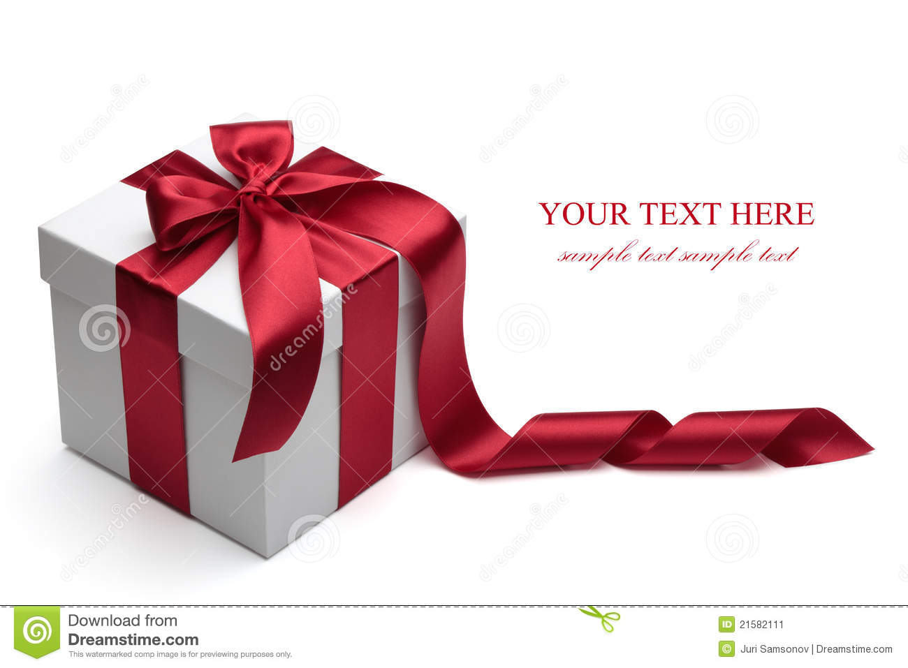 Gift Box With Red Ribbon And Bow Stock Image Image