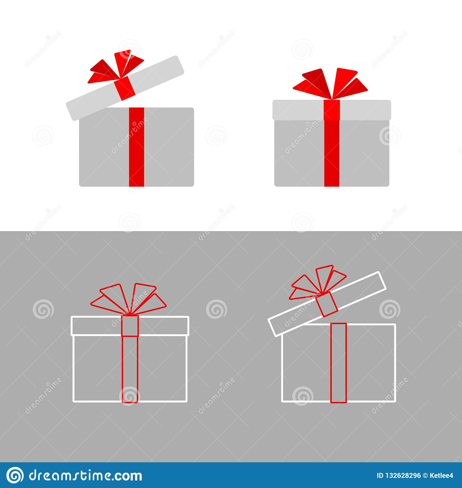 Gift box with a red ribbon bow Isolated Simple flat gift box icon from line of strip Design element advertising greeting card