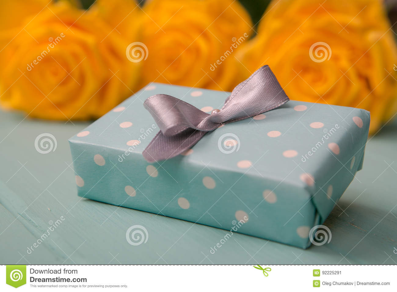 Gift Box And Roses With A Valentines Wedding Anniversary Mothers