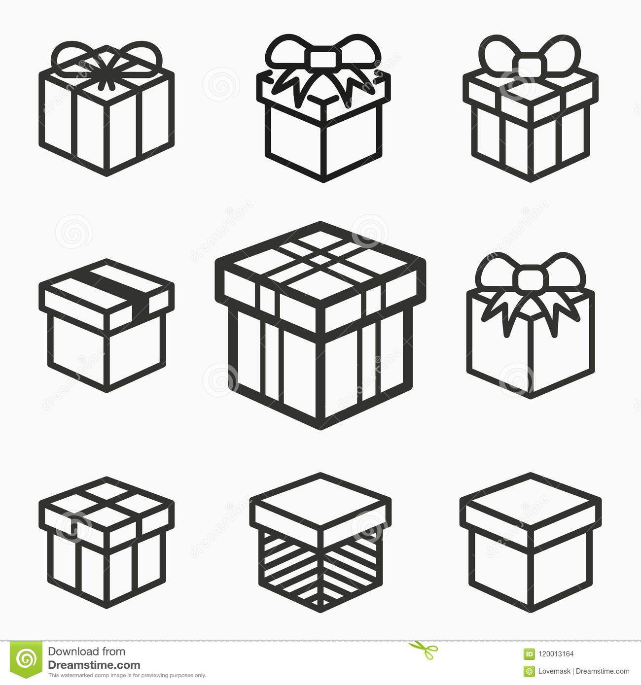 Gift Box Surprise Icons Set Of Present Parcel Package Discount Delivery Birthday Symbols Black Vector Illustrations Isolated On White