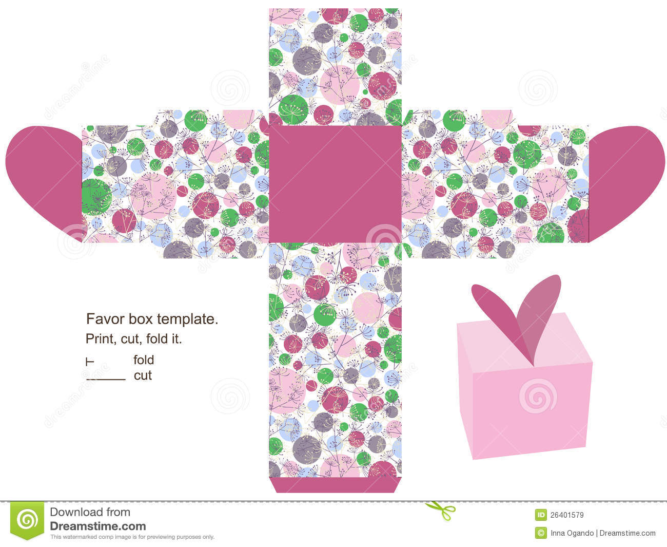 Wedding Gift Box Pattern : box favor floral gift herbs template lid package green container ...