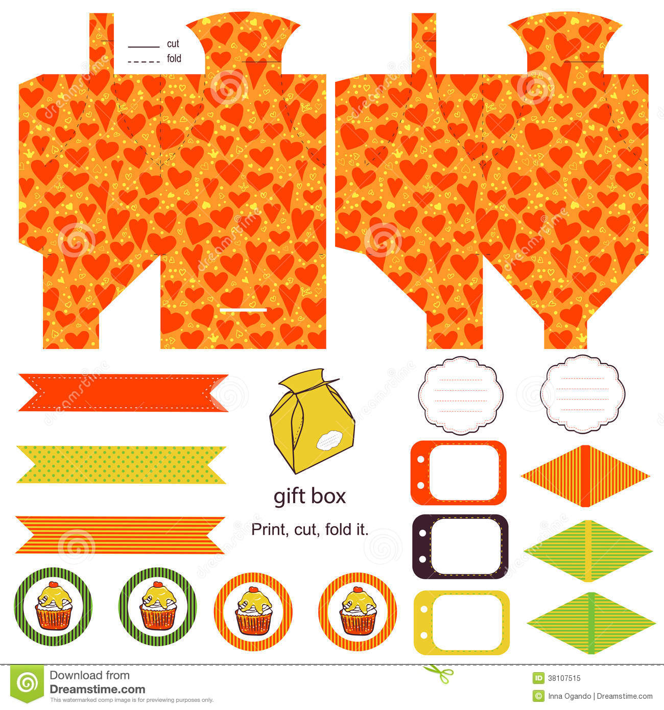 ... product box die cut. hearts pattern. Empty label. Designer template