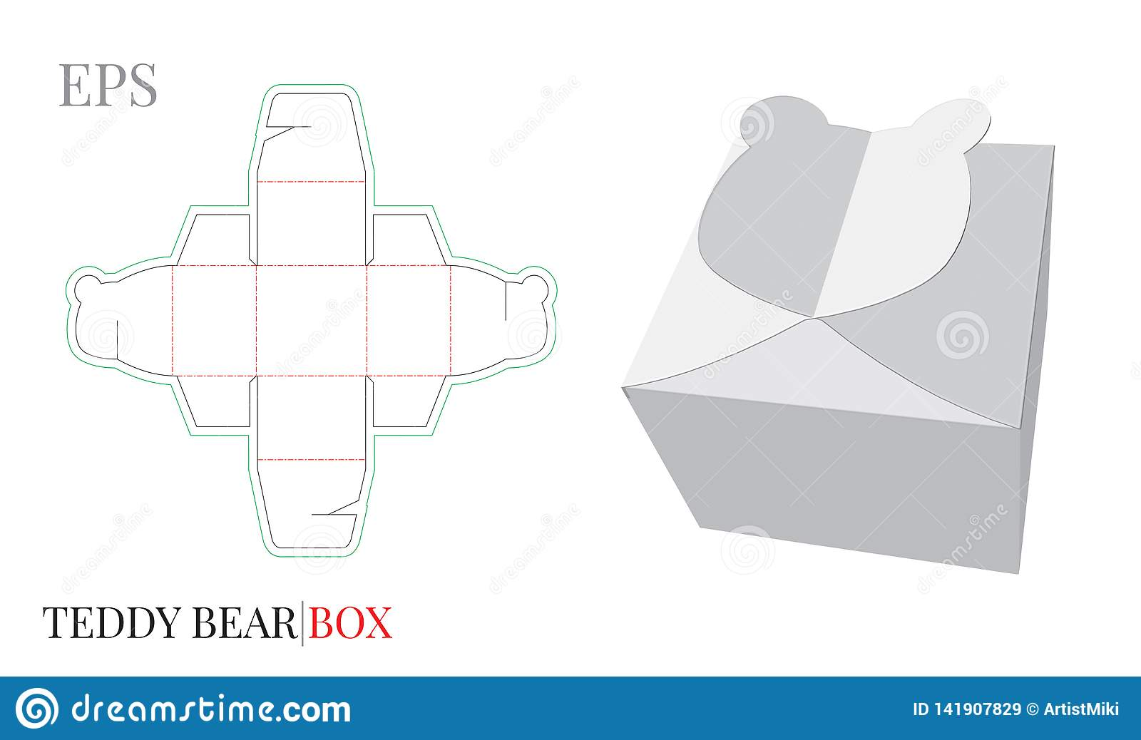 Gift Box Template Vector With Die Cut Laser Cut Lines Candy Box Teddy Bear Stock Vector Illustration Of Butterfly Marketing 141907829