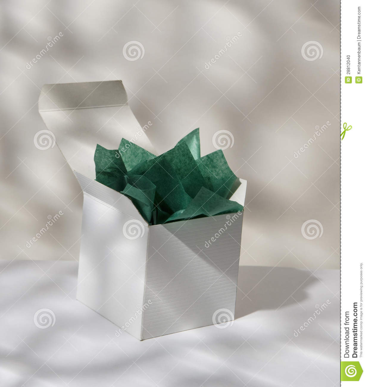 gift box with tissue paper stock photo