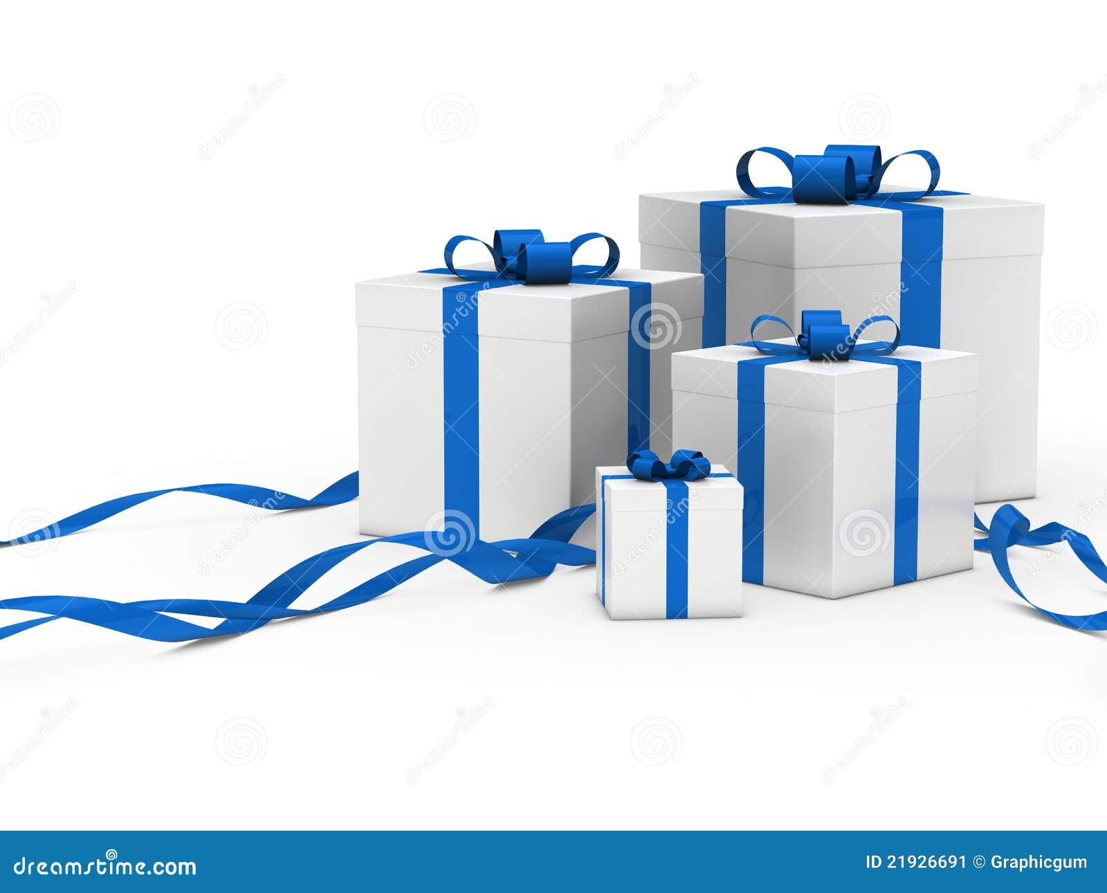 Gift Box White Blue Ribbon Stock Image Image 21926691