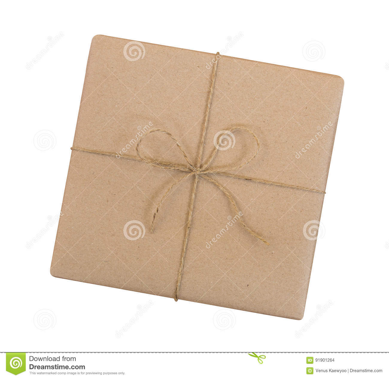 Gift box wrapped in brown recycled paper and tied sack rope top