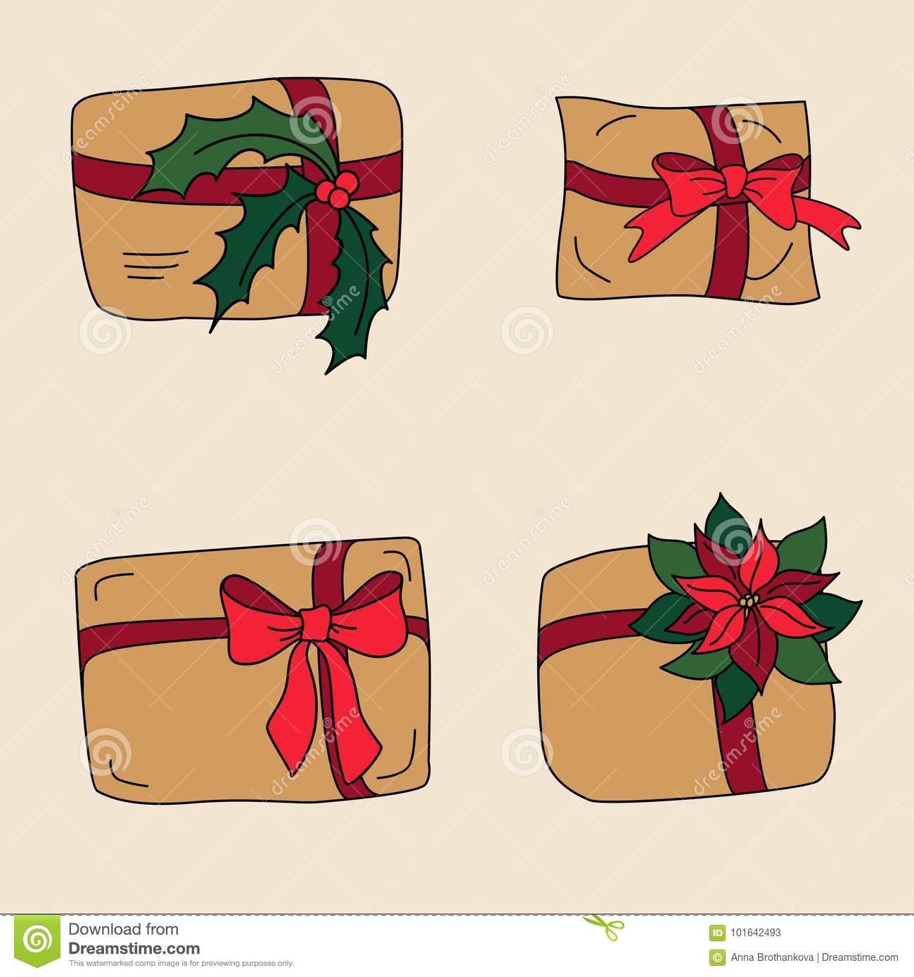 Gift Box Or Xmas Craft Present For Winter Holidays Stock Vector ...