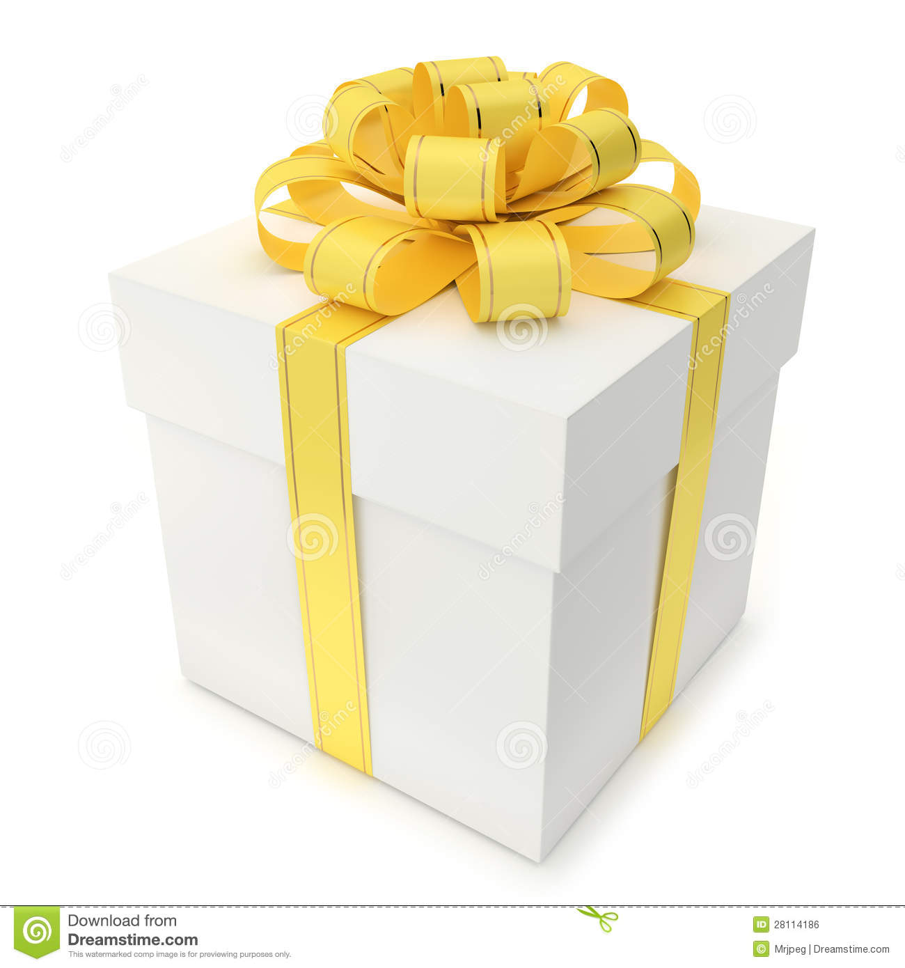 Gift box with yellow ribbon and bow stock illustration gift box with yellow ribbon and bow negle Choice Image