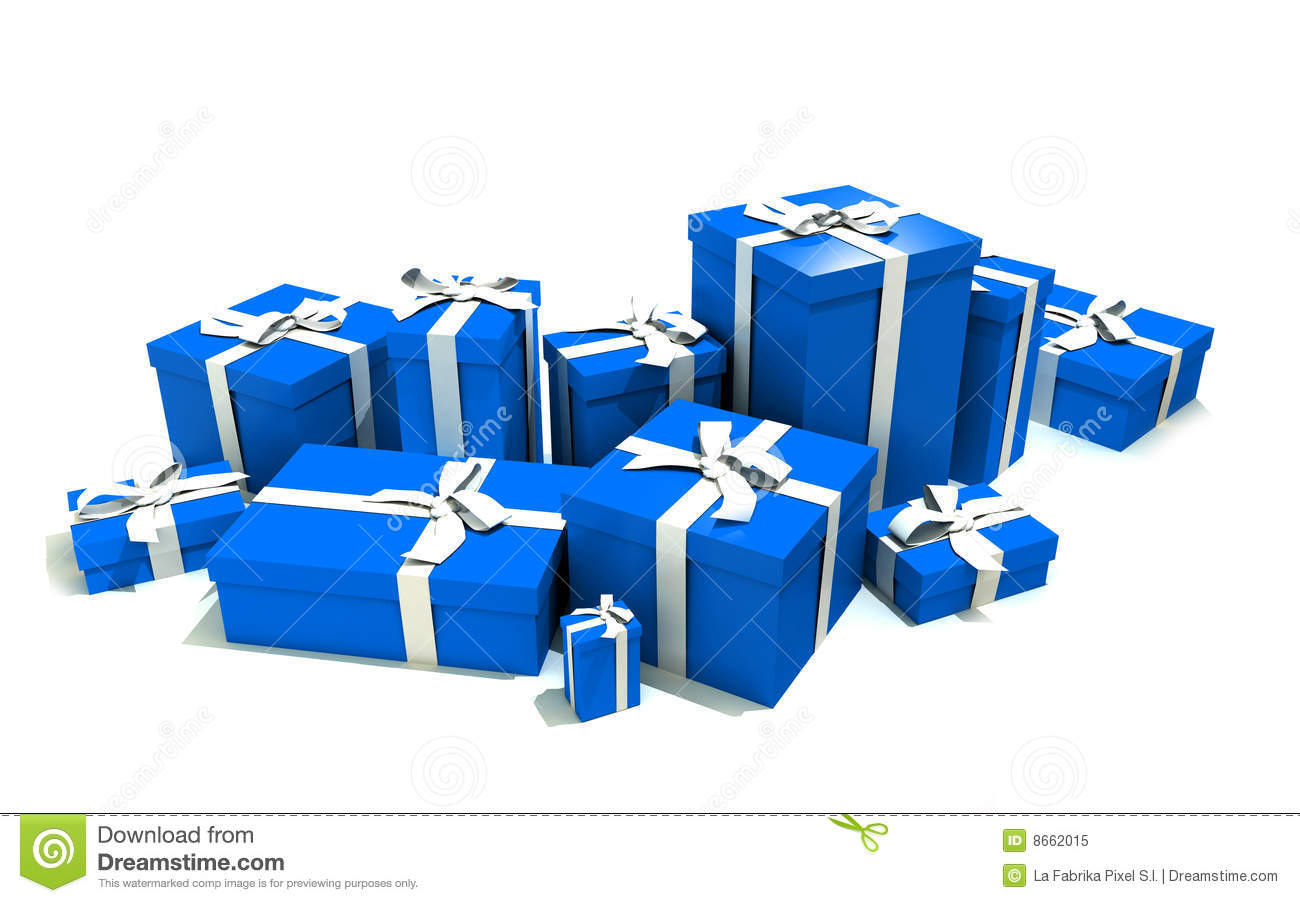 Gift boxes in blue stock illustration image of ribbon