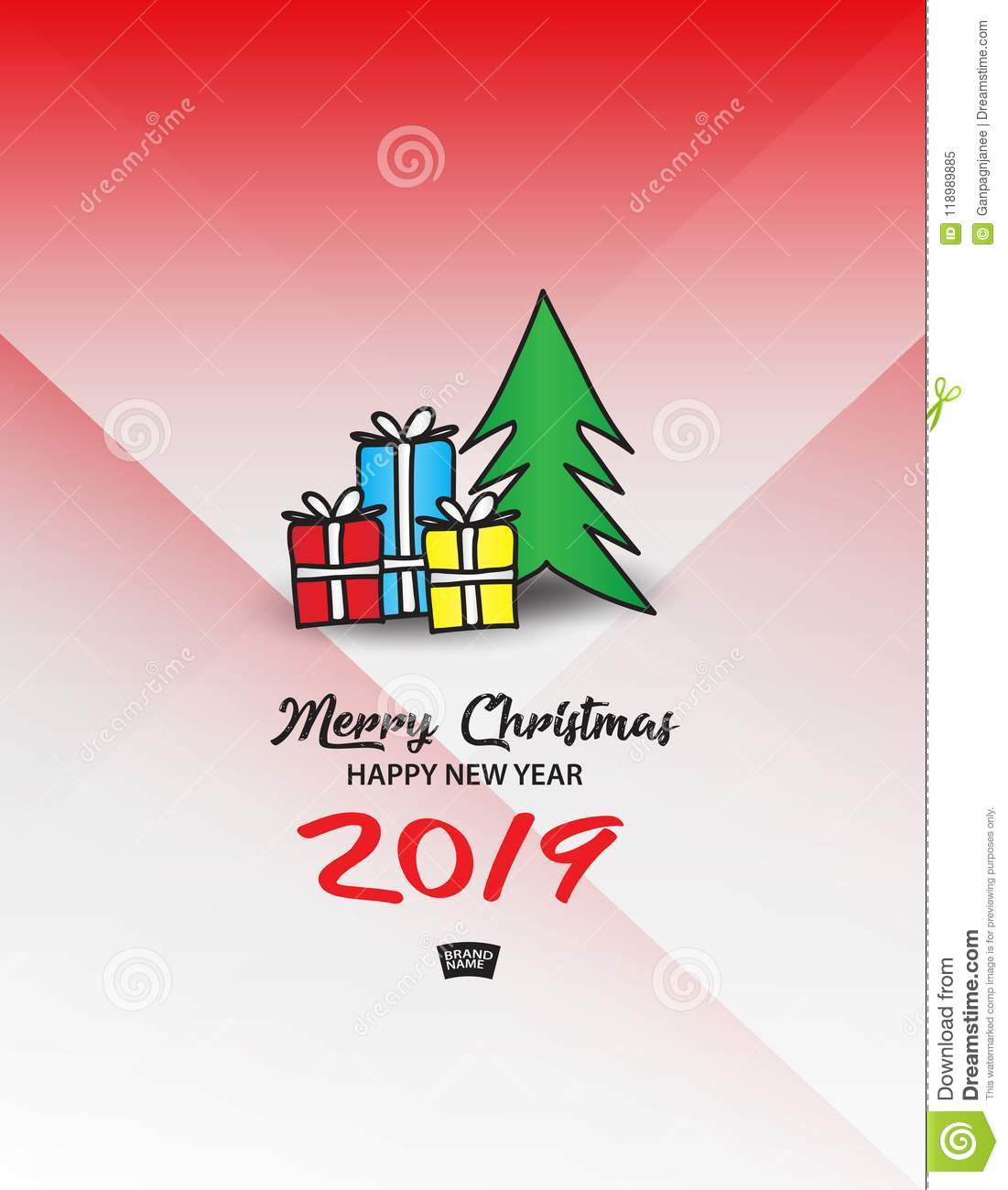 Gift Boxes With Christmas Tree Vector Illustration Merry Christmas