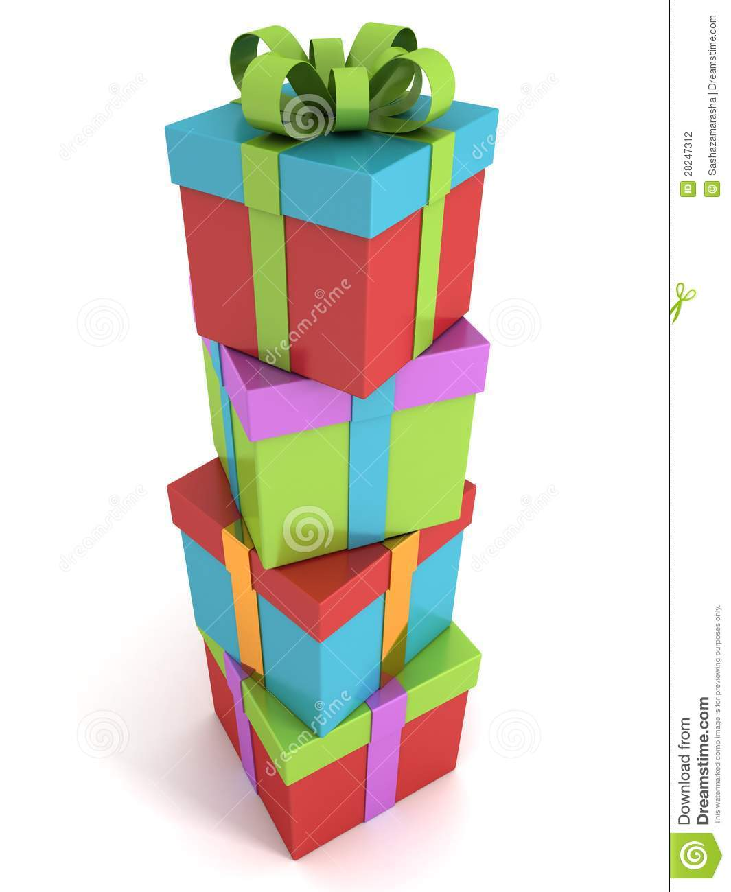 Gift boxes colorful stack tower on white background stock