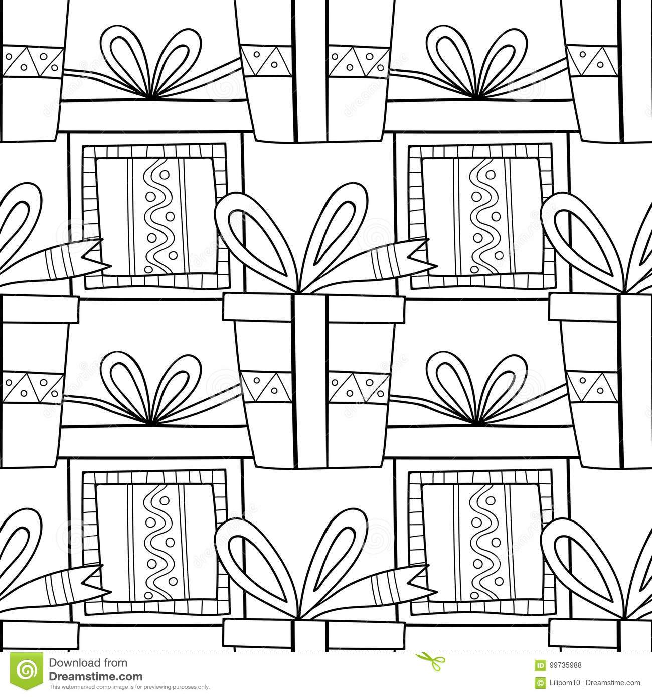 Gift Boxes With Decors, Ornaments For Coloring Books. Black And ...