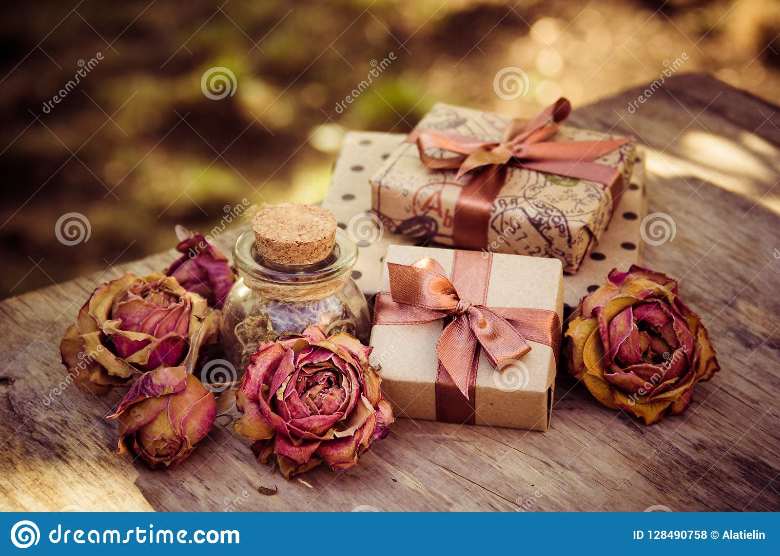 Gift Boxes And Dry Roses Dried Flowers And Craft Gift Box Romantic