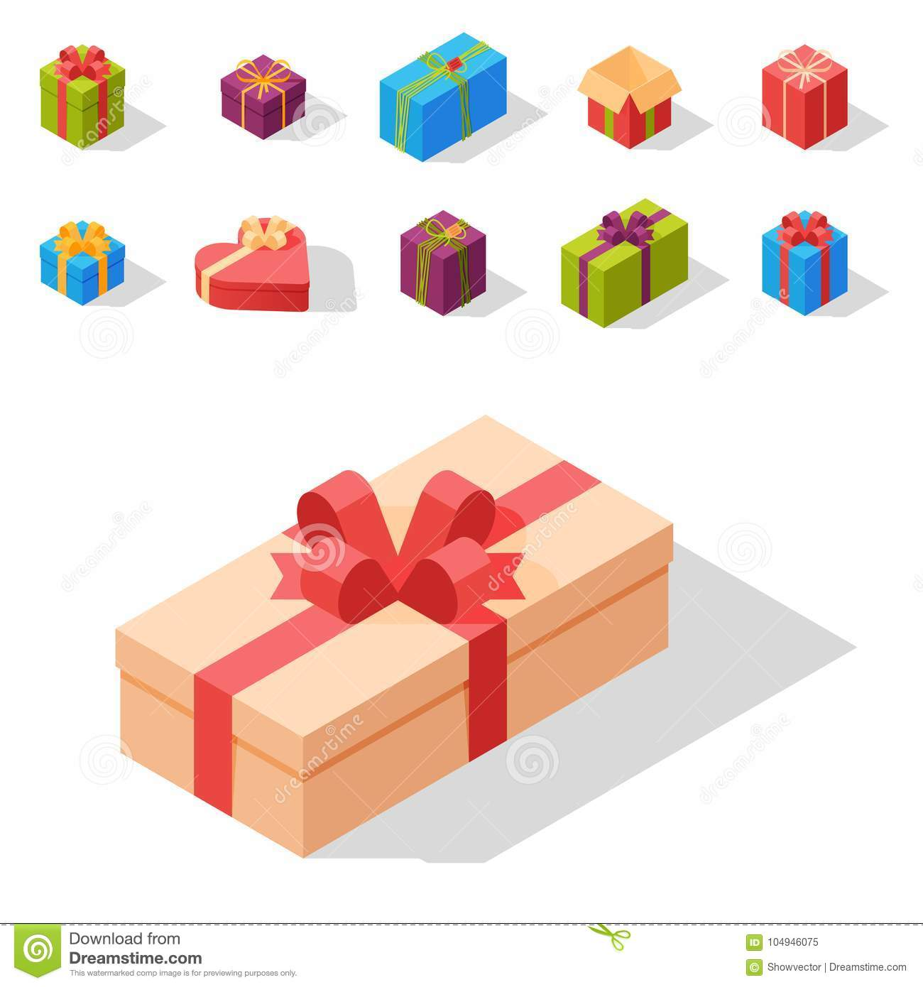 Gift Boxes Pack Composition Event Greeting Isometric Birthday